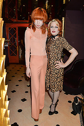 JOSH QUINTON and HEIDI HEELZ at a party to celebrate Pam Hogg receiving an honorary Doctorate from Glasgow University held at Park Chinois, 17 Berkeley Street, London on 11th July 2016.