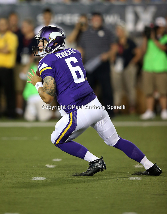 Minnesota Vikings quarterback Taylor Heinicke (6) drops back to pass during the 2015 NFL Pro Football Hall of Fame preseason football game against the Pittsburgh Steelers on Sunday, Aug. 9, 2015 in Canton, Ohio. The Vikings won the game 14-3. (©Paul Anthony Spinelli)