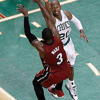 07 June 2012: Miami Heat shooting guard Dwyane Wade (3) passes the ball over Boston Celtics shooting guard Ray Allen (20) during first half of Game 6 of the Eastern Conference Finals playoff series, Heat at Celtics at the TD Banknorth Garden, Boston, Massachusetts, USA.
