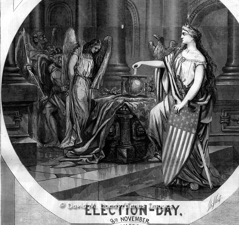 "Detail: ""Election Day November 8, 1864, No Compromise, the Veterans Vote""  Harper's Weekly November 12, 1864  by Thomas Nast Politics in the 1864 Presidential Election. Civil War"