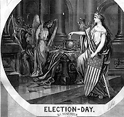 """Detail: """"Election Day November 8, 1864, No Compromise, the Veterans Vote""""  Harper's Weekly November 12, 1864  by Thomas Nast Politics in the 1864 Presidential Election. Civil War"""