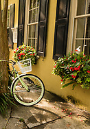 Colorful bicycle on Charleston alley with window boxes filled with flowers