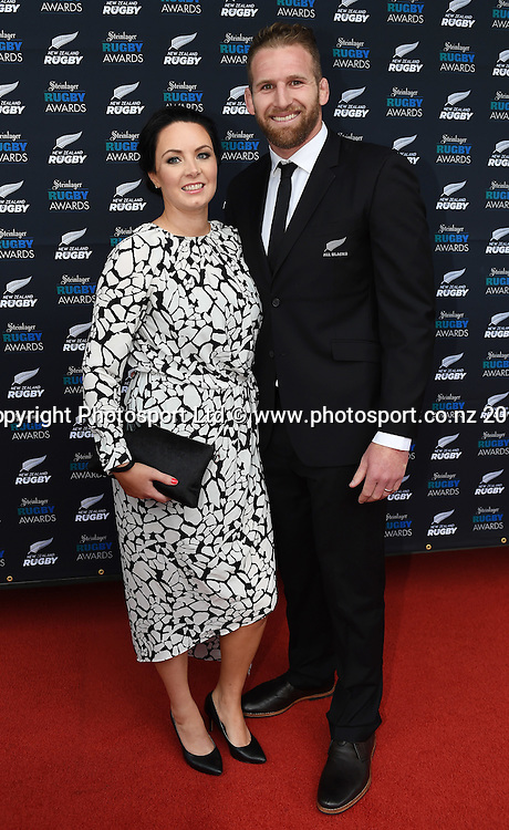 Kieran Read and wife Bridget arrive on the red carpet for the Steinlager Rugby Awards. Viaduct Events Centre. Auckland. Thursday 11 December 2014. Photo: Andrew Cornaga/www.photosport.co.nz
