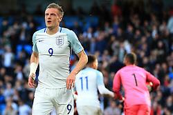 Jamie Vardy of England rues a missed chance - Mandatory byline: Matt McNulty/JMP - 07966386802 - 22/05/2016 - FOOTBALL - Etihad Stadium -Manchester,England - England v Turkey - International Friendly
