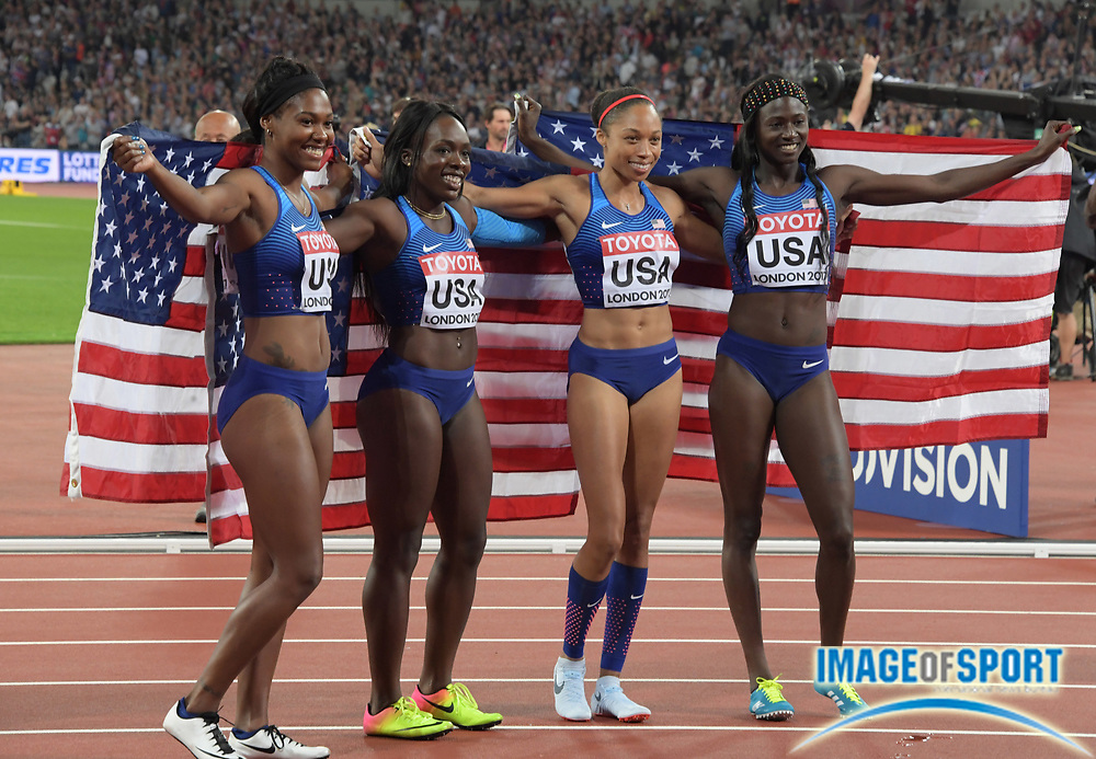Aug 12, 2017; London, United Kingdom; Members of the United States women's 4 x 100m relay pose after winning in 41.82 during the IAAF World Championships in Athletics at London Stadium at Queen Elizabeth Park. From left: Aaliyah Brown and Morolake Akinosun and Allyson Felix and Tori Bowie.