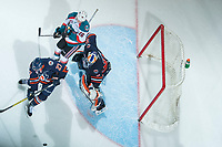 KELOWNA, CANADA - FEBRUARY 24: Dylan Ferguson #31 of the Kamloops Blazers defends the net behind Kole Lind #16 of the Kelowna Rockets  on February 24, 2018 at Prospera Place in Kelowna, British Columbia, Canada.  (Photo by Marissa Baecker/Shoot the Breeze)  *** Local Caption ***