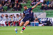 MELBOURNE, AUSTRALIA - APRIL 06: Quade Cooper of the Rebels goes for a conversion kick at round 8 of The Super Rugby match between Melbourne Rebels and Sunwolves on April 06, 2019 at AAMI Park in VIC, Australia. (Photo by Speed Media/Icon Sportswire)