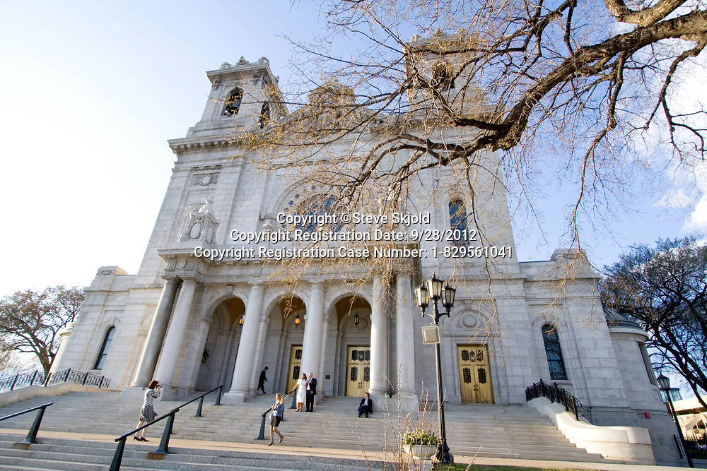 """Basilica of """"St Mary"""" exterior viewed from the front.  Minneapolis Minnesota MN USA"""