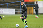 Forest Green Rovers Jack Aitchison(29), on loan from Celtic warming up during the EFL Sky Bet League 2 match between Mansfield Town and Forest Green Rovers at the One Call Stadium, Mansfield, England on 11 January 2020.