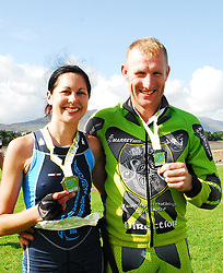 Derval Devanney 1st female home and Padraig Marrey 1st Male home in Gaelforce West 2010 ...Pic Conor McKeown