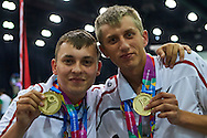 (L) SO Poland athlete Patryk Jaszcz and (R) SO Poland athlete Mateusz Kaczmarek pose with gold medals after medal ceremony after bowling competition during fifth day of the Special Olympics World Games Los Angeles 2015 on July 29, 2015 at Los Angeles Convention Centre in Los Angeles, USA.<br /> <br /> USA, Los Angeles, July 29, 2015<br /> <br /> Picture also available in RAW (NEF) or TIFF format on special request.<br /> <br /> For editorial use only. Any commercial or promotional use requires permission.<br /> <br /> Adam Nurkiewicz declares that he has no rights to the image of people at the photographs of his authorship.<br /> <br /> Mandatory credit:<br /> Photo by © Adam Nurkiewicz / Mediasport