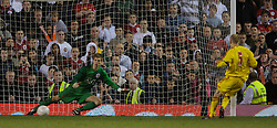 Manchester, England - Thursday, April 26, 2007: Liverpool's Robbie Threlfall scores his side's fourth penalty-kick against Manchester United's goalkeeper Ron-Robert Zieler during the shoot-out to decide the FA Youth Cup Final 2nd Leg at Old Trafford. (Pic by David Rawcliffe/Propaganda)