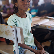 Ines Ouattara (10) in class in the village of Toussiana in the Hauts-Bassins region of Burkina Faso, on 22 February 2016.