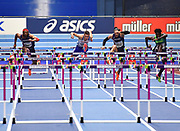 Andrew Pozzi (GBR) (2nd left)  leads the field on his way to winning gold in the Mens 60m Hurdles Final in a seasons best time of 7.46 during the final session of the IAAF World Indoor Championships at Arena Birmingham in Birmingham, United Kingdom on Saturday, Mar 2, 2018. (Steve Flynn/Image of Sport)