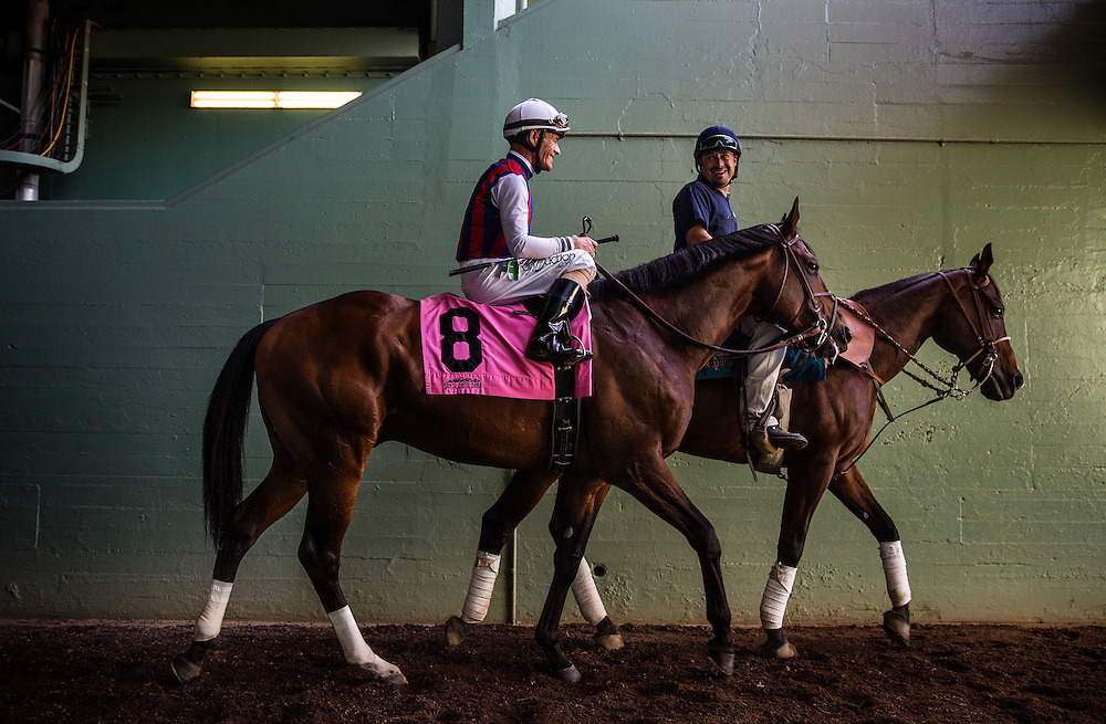 May 30 2015: Catch a Flight with Gary Stevens walk to the track before the Californian Stakes at Santa Anita Park in Arcadia CA. Alex Evers/ESW/CSM