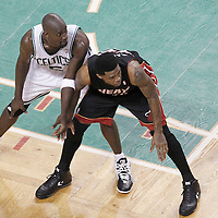 01 June 2012: Miami Heat power forward Udonis Haslem (40) and Boston Celtics power forward Kevin Garnett (5) are seen during the Boston Celtics 101-91 victory over the Miami Heat, in Game 3 of the Eastern Conference Finals playoff series, at the TD Banknorth Garden, Boston, Massachusetts, USA.