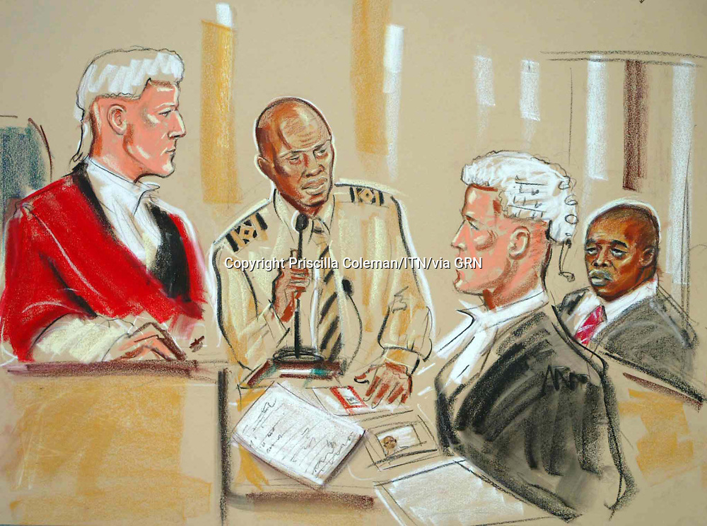 ©Priscilla Coleman ITV News.Supplied by: Photonews Service Ltd Old Bailey.Pic shows: William Ansa-Otu at Woolwich Magistrates Court where he was giving evidence in the 21 July terror trial. Also shown is Manfo Kawaku Asiedu and Max Hill. .Illustration: Priscilla Coleman ITV News