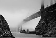 Golden Gate Bridge in Fog (b/w)