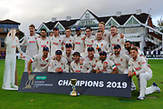 Ryan ten Doeschate of Essex and his players pose with the County Championship trophy with and a carboard cutout of Peter Siddle during the Specsavers County Champ Div 1 match between Somerset County Cricket Club and Essex County Cricket Club at the Cooper Associates County Ground, Taunton, United Kingdom on 26 September 2019.
