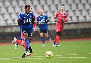 FODBOLD: Franco Atchou (Fremad Amager) under træningskampen mellem Fremad Amager og FC Helsingør den 2. februar 2019 i Sundby Idrætspark. Foto: Claus Birch
