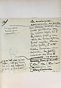 Handwritten notes for a speech supporting a bill offering amnesty to the communards (participants in the Paris Commune), 1876, page 16, by Victor Hugo, 1802-85, French writer, housed in the Archives du Senat, in the Senate in the Palais du Luxembourg, 6th arrondissement, Paris, France. Hugo was a senator for Seine 1876-85, and gave this speech on 22nd May 1876. Although this bill was not passed, a general amnesty was granted in 1880. Picture by Manuel Cohen
