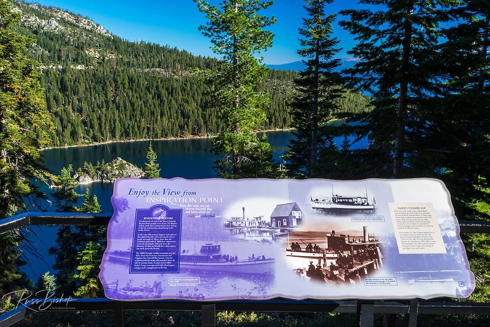 Interpretive sign, Emerald Bay State Park, Lake Tahoe, California USA