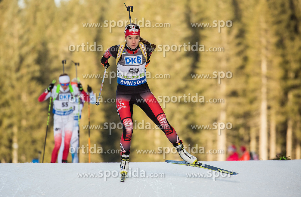 Fabienne Hartweger (AUT) competes during Women 7,5 km Sprint at day 2 of IBU Biathlon World Cup 2015/16 Pokljuka, on December 18, 2015 in Rudno polje, Pokljuka, Slovenia. Photo by Vid Ponikvar / Sportida