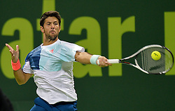 DOHA, Jan. 7, 2017  Fernando Verdasco of Spain returns to Novak Djokovic of Serbia during the men's singles semifinal of the ATP Qatar Open tennis tournament at the Khalifa International Tennis Complex in Doha, capital of Qatar, on Jan. 6, 2017. Fernando Verdasco lost 1-2.  wll) (Credit Image: © Nikku/Xinhua via ZUMA Wire)