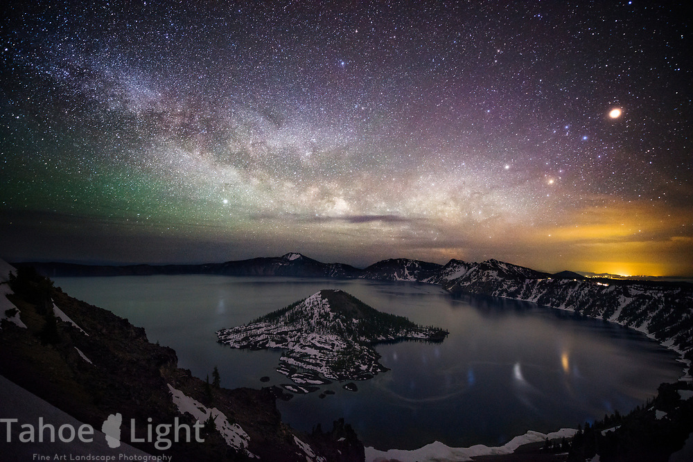 Crater Lake and the milky way at Night in Crater Lake National Park, Oregon, USA.
