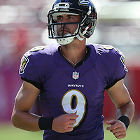 TAMPA, FL - OCTOBER 12:  Kicker Justin Tucker #9 of the Baltimore Ravens is seen during an NFL football game at Raymond James Stadium on October 12, 2014 in Tampa, Florida. (Photo by Alex Menendez/Getty Images) *** Local Caption *** Justin Tucker