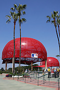 ANAHEIM, CA - MAY 14:  Palm trees and large Angels hats decorate the entrance to the stadium prior to the Los Angeles Angels of Anaheim game against the Boston Red Sox at Angel Stadium in Anaheim, California on Thursday, May 14, 2009.  The Angels defeated the Red Sox 5-4 in 12 innings.  (Photo by Paul Spinelli/MLB Photos)