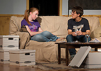 """Maggie"" Brittney Pond and ""David"" Reese Miles during LHS Theater Arts dress rehearsal for ""Letters From My Father"" Wednesday evening.  (Karen Bobotas/for the Laconia Daily Sun)"
