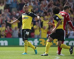 Watford's Lewis McGugan celebrates after scoring a goal   - Photo mandatory by-line: Nigel Pitts-Drake/JMP - Tel: Mobile: 07966 386802 25/08/2013 - SPORT - FOOTBALL -Vicarage Road Stadium - Watford -  Watford v Nottingham Forest - Sky Bet Championship