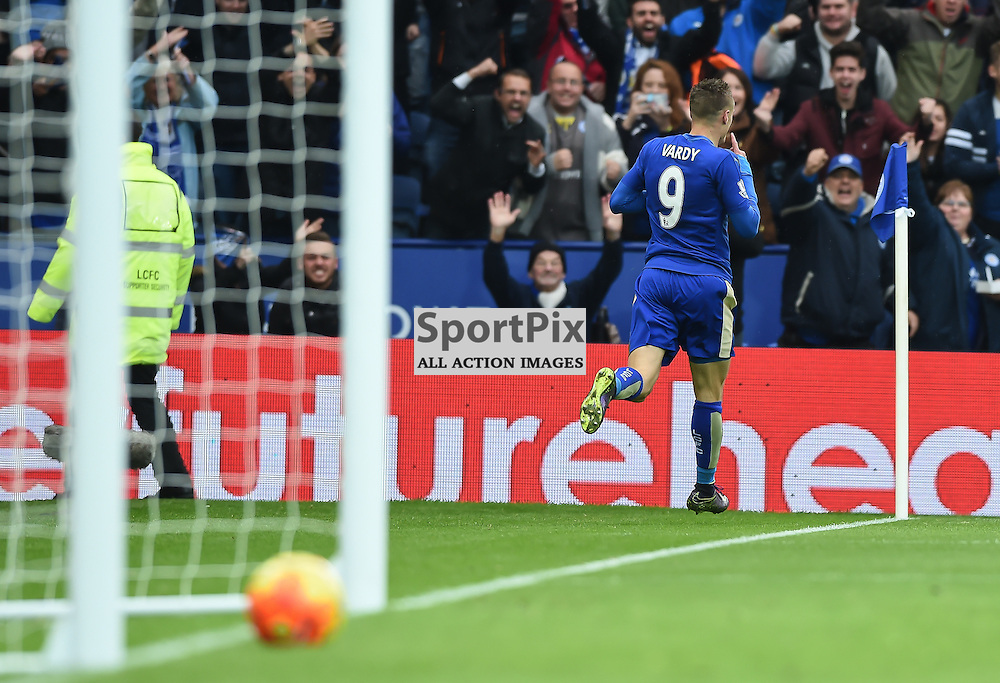 Jamie Vardy runs to the Leicester fans after scoring his record breaking goal to win the game for Leicester 1-0 (c) Simon Kimber | SportPix.org.uk