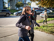 12 OCTOBER 2019 - DES MOINES, IOWA: Senator KAMALA HARRIS (D-CA) walks into a Des Moines block party Saturday. Sen. Harris attended a neighborhood block party in Des Moines as a part of her campaign to be the Democratic nominee for the US presidency in 2020. Iowa traditionally holds the first selection of the presidential election cycle. The Iowa caucuses are Feb. 3, 2020.        PHOTO BY JACK KURTZ