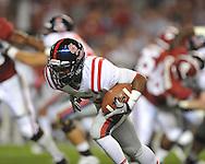 Ole Miss running back Jeff Scott (3) runs the ball at Bryant-Denny Stadium in Tuscaloosa, Ala.  on Saturday, October 16, 2010. Alabama won 23-10.