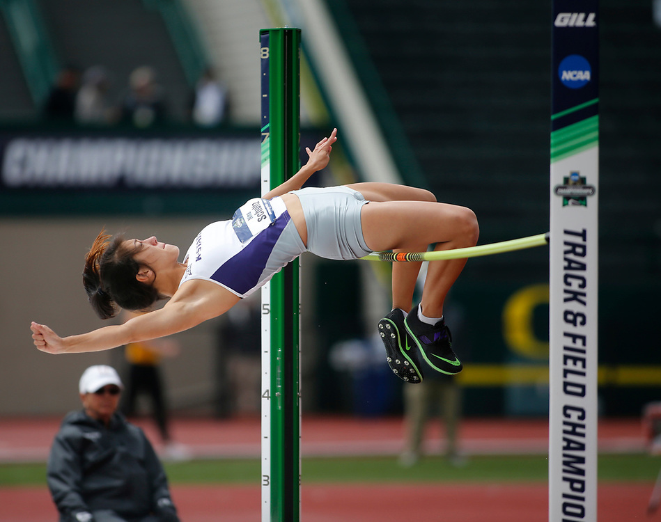 Kansas State's Nina Schultz attempts to clear the bar in the heptathlon on the third day of the NCAA outdoor college track and field championships in Eugene, Ore., Friday, June 9, 2017. Schultz is in second place with 2610 points. (AP Photo/Timothy J. Gonzalez)