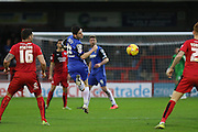 Tom Pett of Stevenage heads on during the Sky Bet League 2 match between Crawley Town and Stevenage at the Checkatrade.com Stadium, Crawley, England on 26 December 2015. Photo by Phil Duncan.