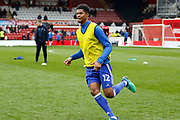 Ipswich Town midfielder Jordan Spence (12) warms up before kick off during the EFL Sky Bet Championship match between Brentford and Ipswich Town at Griffin Park, London, England on 7 April 2018. Picture by Andy Walter.