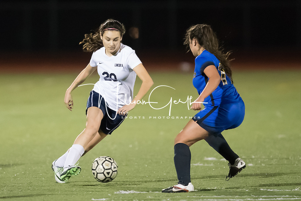 (Photograph by Bill Gerth for SVCN) Lincoln #20 Jacqueline Carillo moves the ball vs Prospect in a BVAL Girls Soccer Game at Lincoln High School, San Jose CA on 1/27/17.  (Lincoln 2 Prospect 1 )