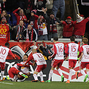 Felipe Martins, (facing), New York Red Bulls, celebrates with team mates after scoring the second of his two spectacular goals in New York Red Bulls 4-3 win during the New York Red Bulls Vs Houston Dynamo, Major League Soccer regular season match at Red Bull Arena, Harrison, New Jersey. USA. 19th March 2016. Photo Tim Clayton