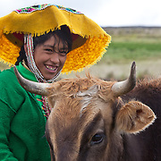 Young girl with her cow near the Andean community of Upis along the Interoceanic Highway (3,800 m in elevation) about three hours from Cusco. People from the villages, like this girl, are generally happy about the new highway because they are able to reach Cusco and other cities in significantly less time. An artisan project in Upis is supported by Interoceanica SUR (iSUR), an organization that seeks to promote conservation efforts around the new Interoceanic Highway that streteches across Peru and Brazil.