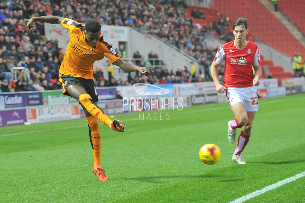Wolverhampton Wanderers defender Dominic Iorfa crosses ball  during the Sky Bet Championship match between Rotherham United and Wolverhampton Wanderers at the New York Stadium, Rotherham, England on 5 December 2015. Photo by Ian Lyall.