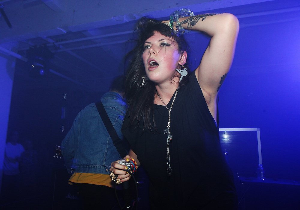 NEW YORK - JUNE 26:  Alexis Krauss of Sleigh Bells performs onstage as part of VICE & Intel's The Creator Project at Milk Studios on June 26, 2010 in New York City.  (Photo by Roger Kisby)
