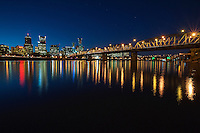 Portland Skyline, Big Dipper, and Hawthorne Bridge at Dusk<br /> <br /> Shot in Portland, OR, USA