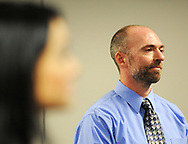 Finalist Domenick Renzi listens to the Teacher of the Year presentation Wednesday, October 04, 2017 at the New Jersey Department of Education in Trenton, New Jersey. (WILLIAM THOMAS CAIN / For The Philadelphia Inquirer)