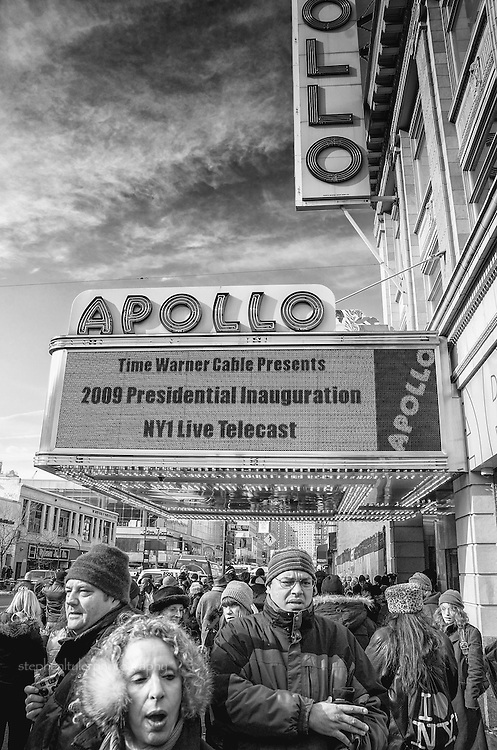 In Harlem, joyous crowds gathered for the historic  Inauguration of Barack Hussein Obama, the nation's 44th leader of the United States and first African American President, at the Adam Clayton Powell Jr. State Office Building and at Harlem's Apollo Theatre.