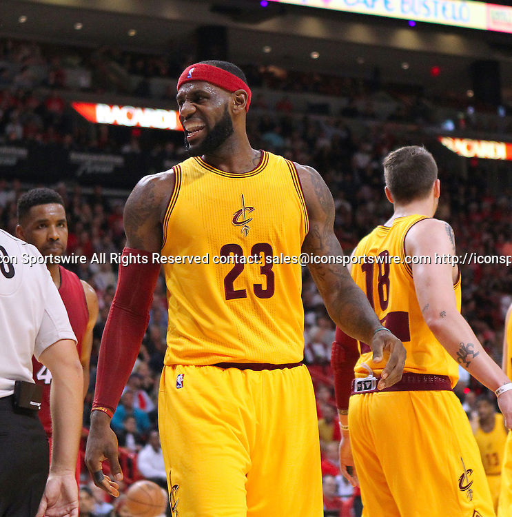 Dec. 25, 2014 - Miami, FL, USA - Cleveland Cavaliers forward LeBron James reacts after a play during the second quarter of an NBA basketball game against the Miami Heat on Dec. 25, 2014 at the AmericanAirlines Arena in Miami. The Heat won 101-91