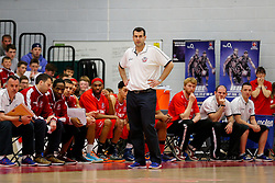 Bristol Flyers coach Andreas Kapoulas looks frustrated - Photo mandatory by-line: Rogan Thomson/JMP - 07966 386802 - 07/03/2015 - SPORT - BASKETBALL - Bristol, England - SGS Wise Arena - Bristol Flyers v Sheffield Sharks - BBL Championship.