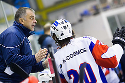 Matjaz Kopitar, head coach of Slovenia talks to GAL KOREN of Slovenia during Friendly Ice-hockey match between National teams of Slovenia and Italy on April 5, 2013 in Ice Arena Tabor, Maribor, Slovenia. (Photo By Vid Ponikvar / Sportida)